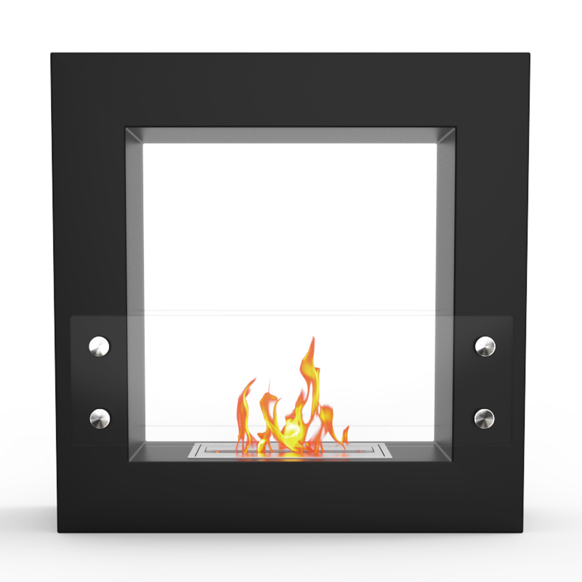 flame dora ventless free standing ethanol fireplace in black