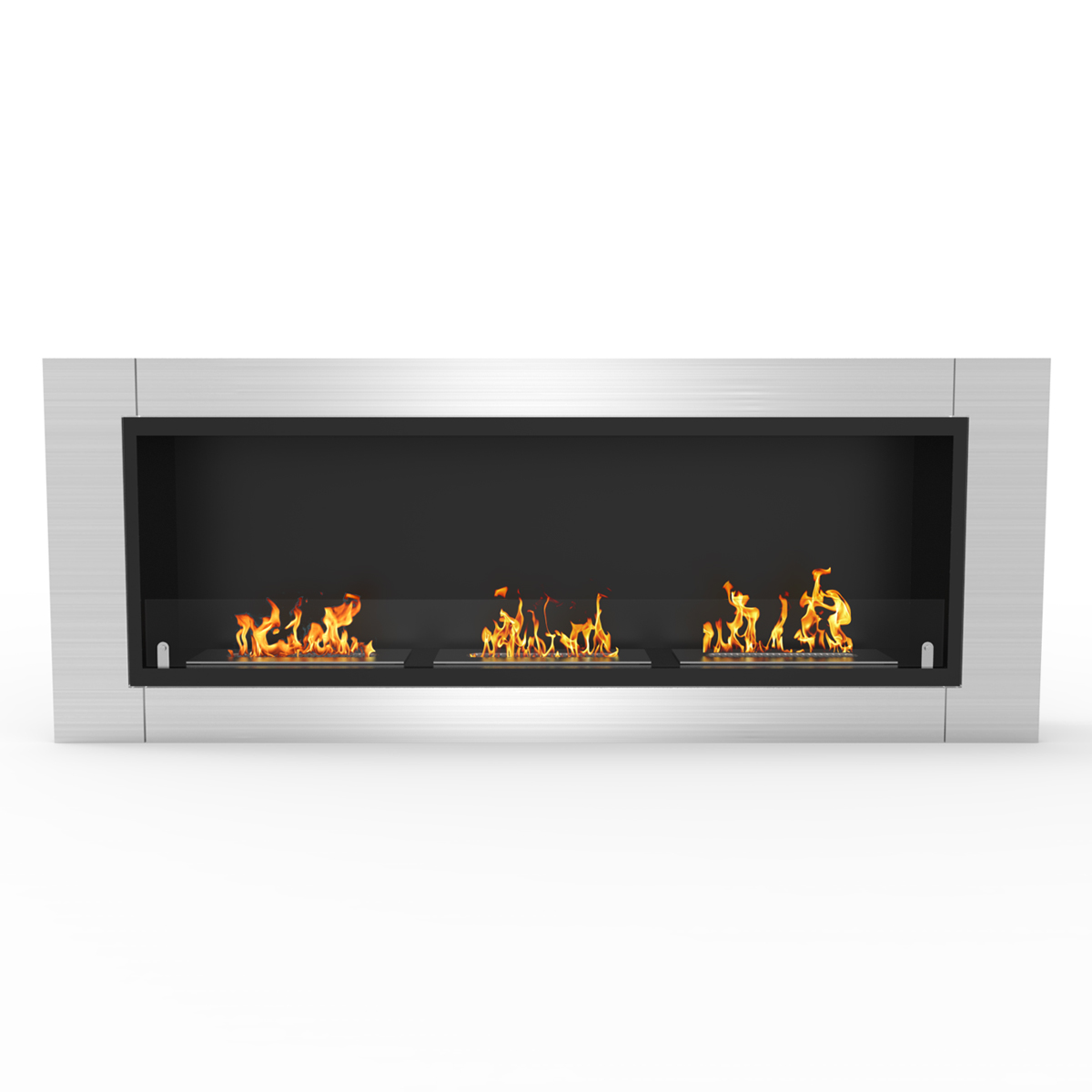 flame lenox 54 inch ventless built in recessed bio ethanol wall