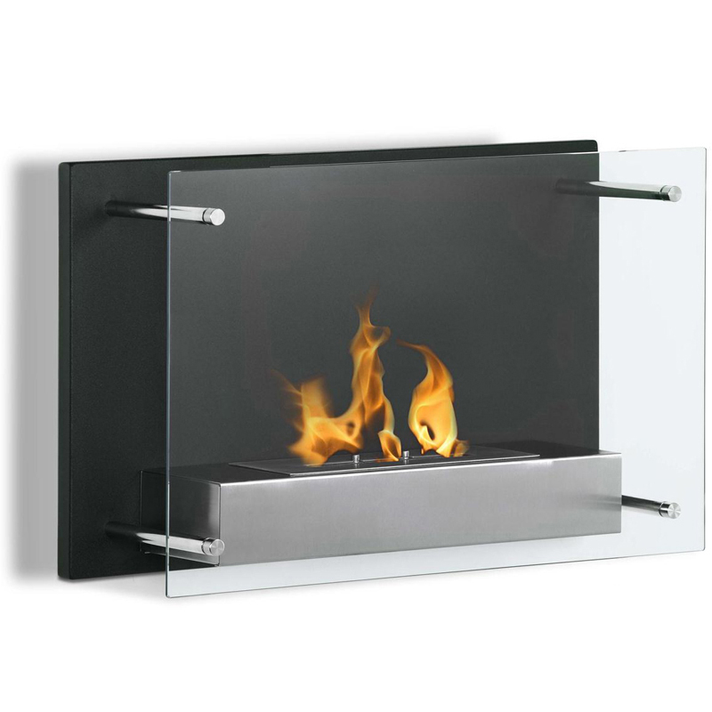 Milan contemporary fireplace offers a decorative black steel backdrop with a elusive glass front. The Milan ethanol fireplace casts a stylish yet sleek element to any room while bring environs from the flame of a real fire.