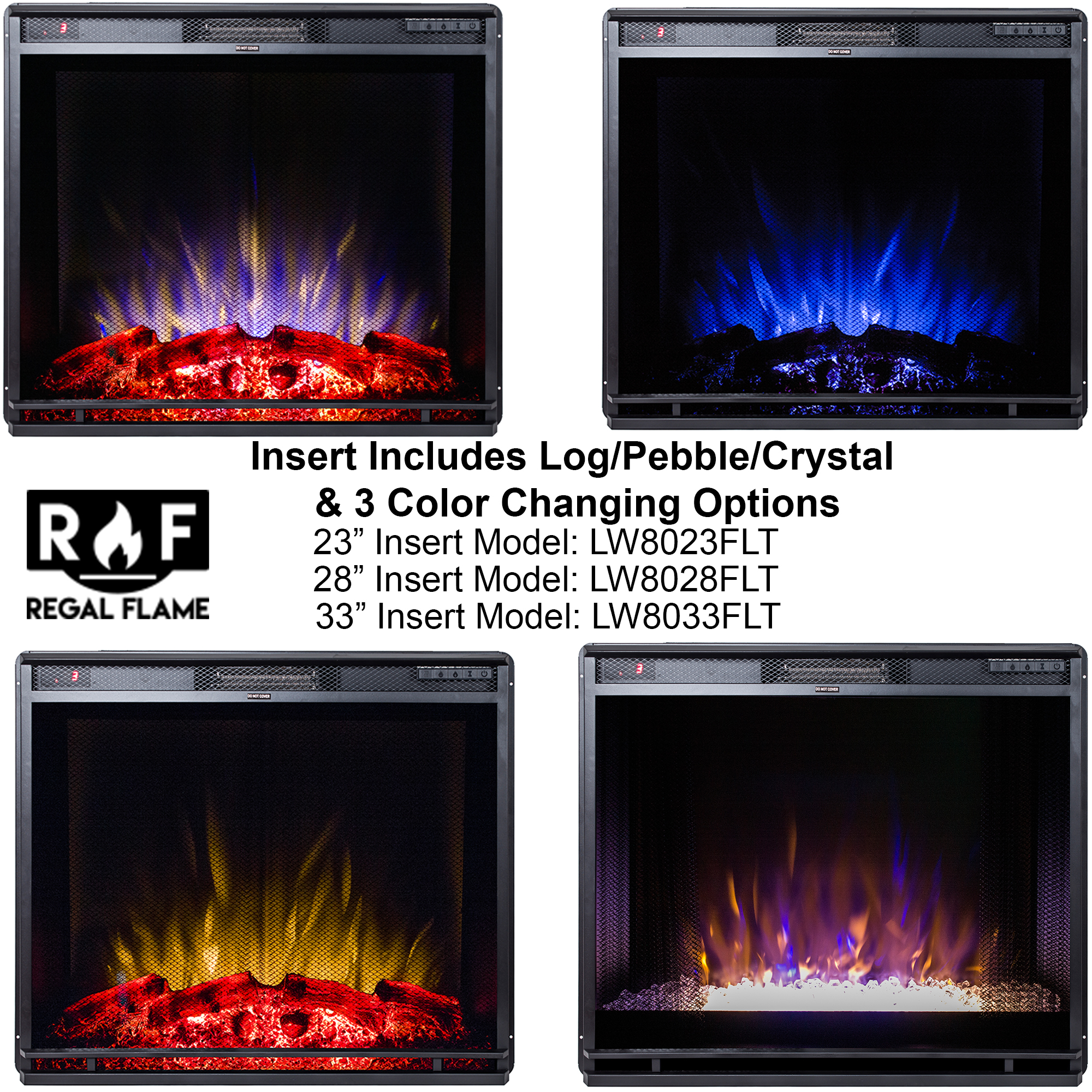 Regal Flame 28 Inch Flat Ventless Heater Electric Fireplace Insert