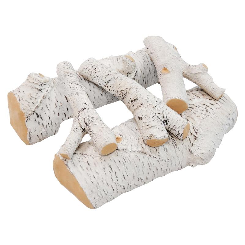 16 Inch Birch Ceramic Fireplace Gas Logs - 5 Piece Set