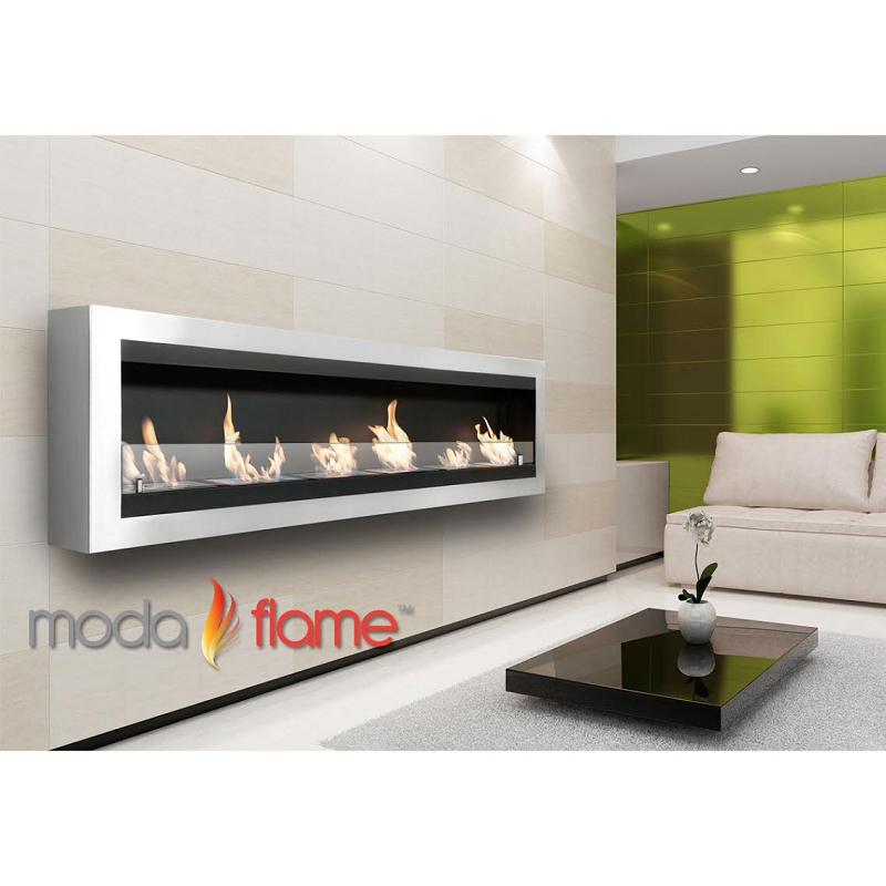 Moda Flame Verrazano Wall Mounted Ethanol Fireplace in Stainless Steel