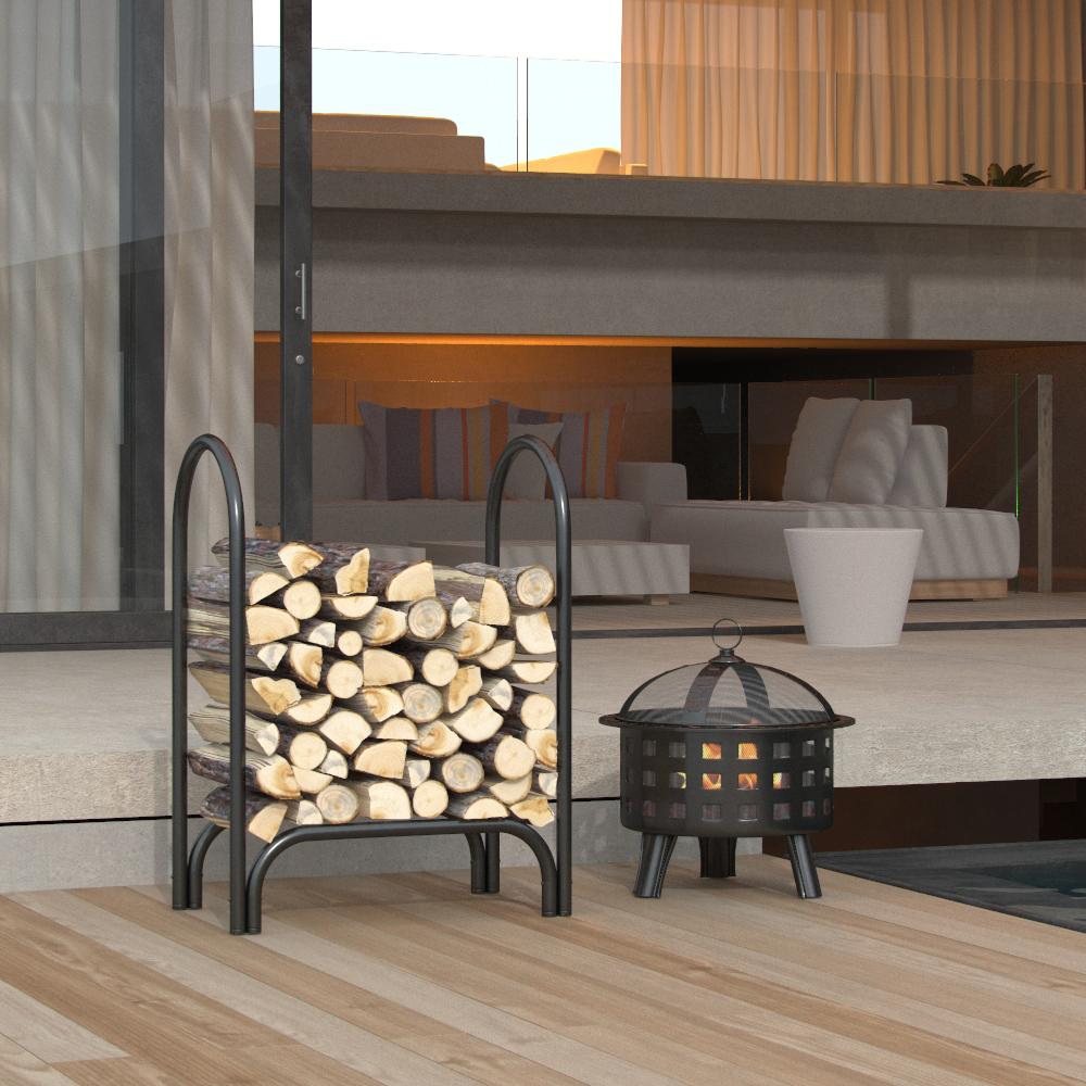 Regal Flame 28 Inch Indoor Outdoor Firewood Shelter Log Rack