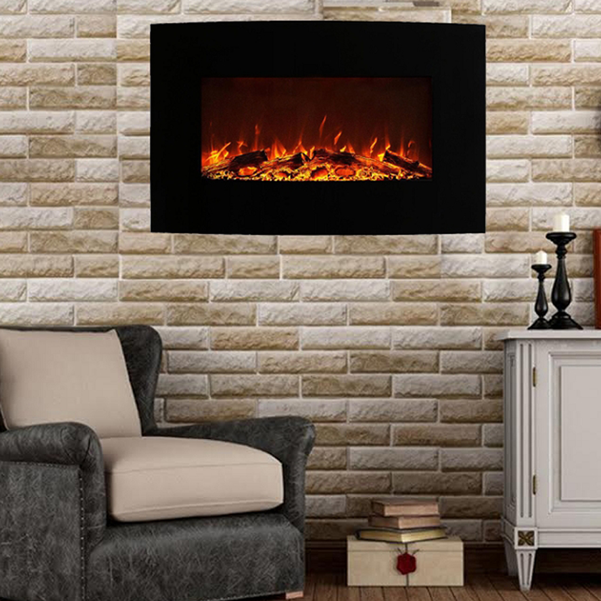 The Madison electric wall mounted fireplace offers a fireplace at a touch of a button. The chic yet bold black curved electric fireplace offers a three setting.