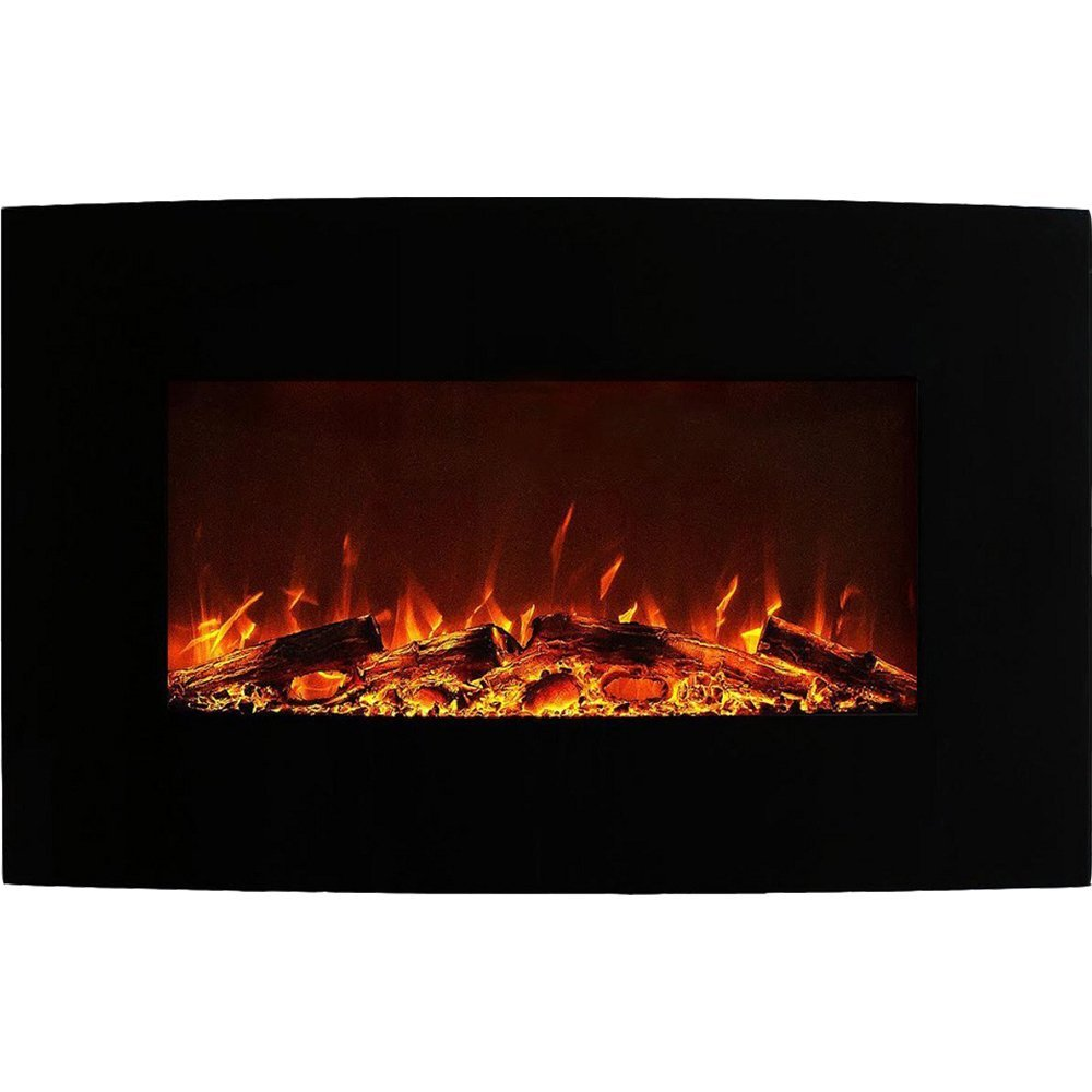 madison 35 inch ventless heater electric wall mounted fireplace log