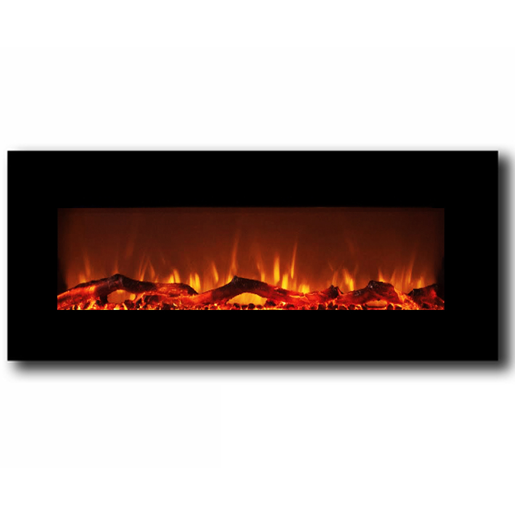 ashford 50 inch black heater electric wall mounted fireplace log