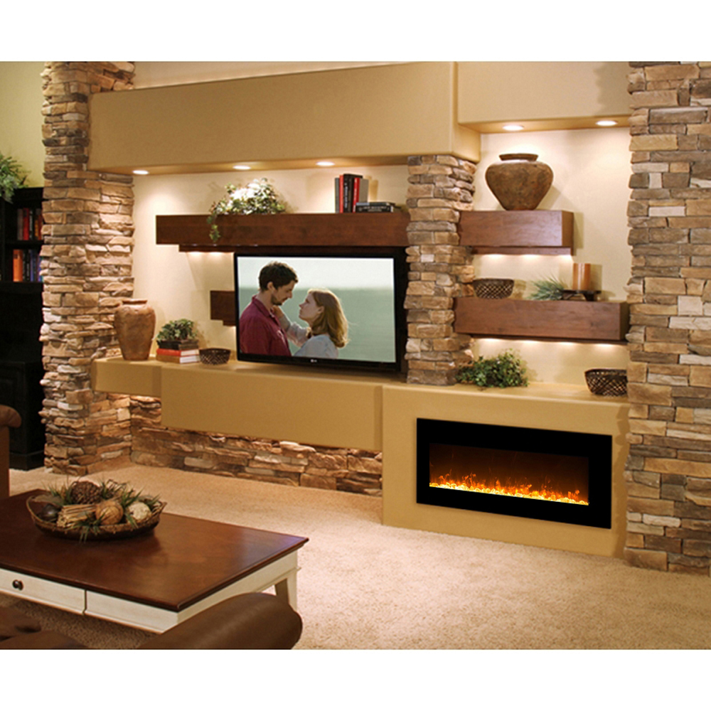 Regal Flame Orion 50 Inch Black Ventless Heater Electric Wall Mounted  Fireplace   Crystal