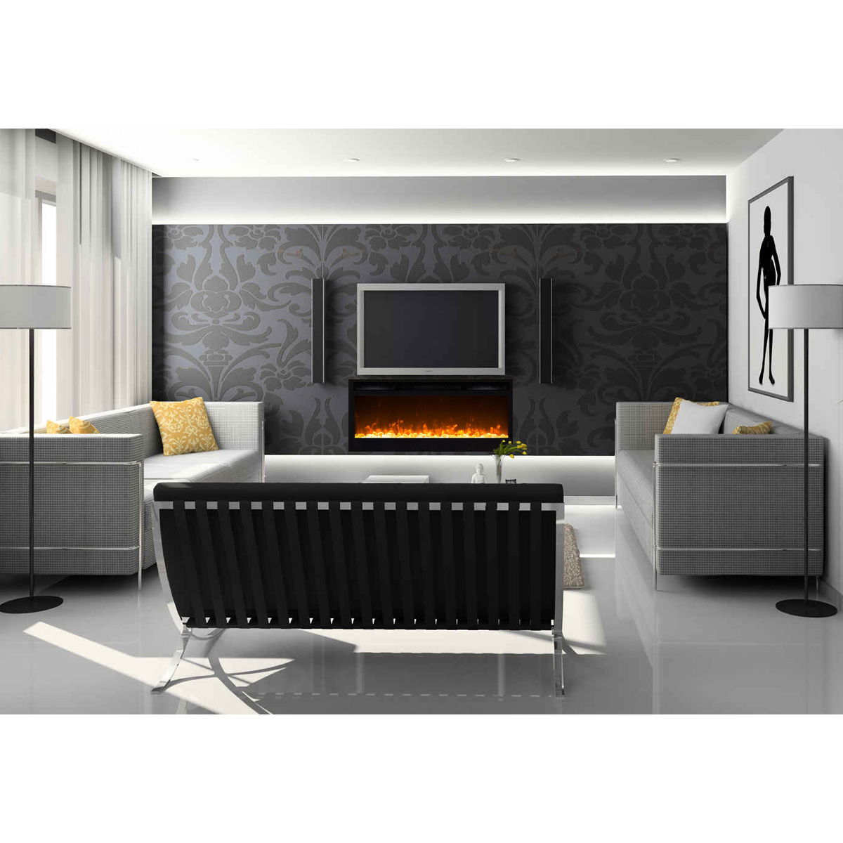 Moda Flame 36 Inch Cynergy Crystal Built-In Recessed Wall Mounted ...