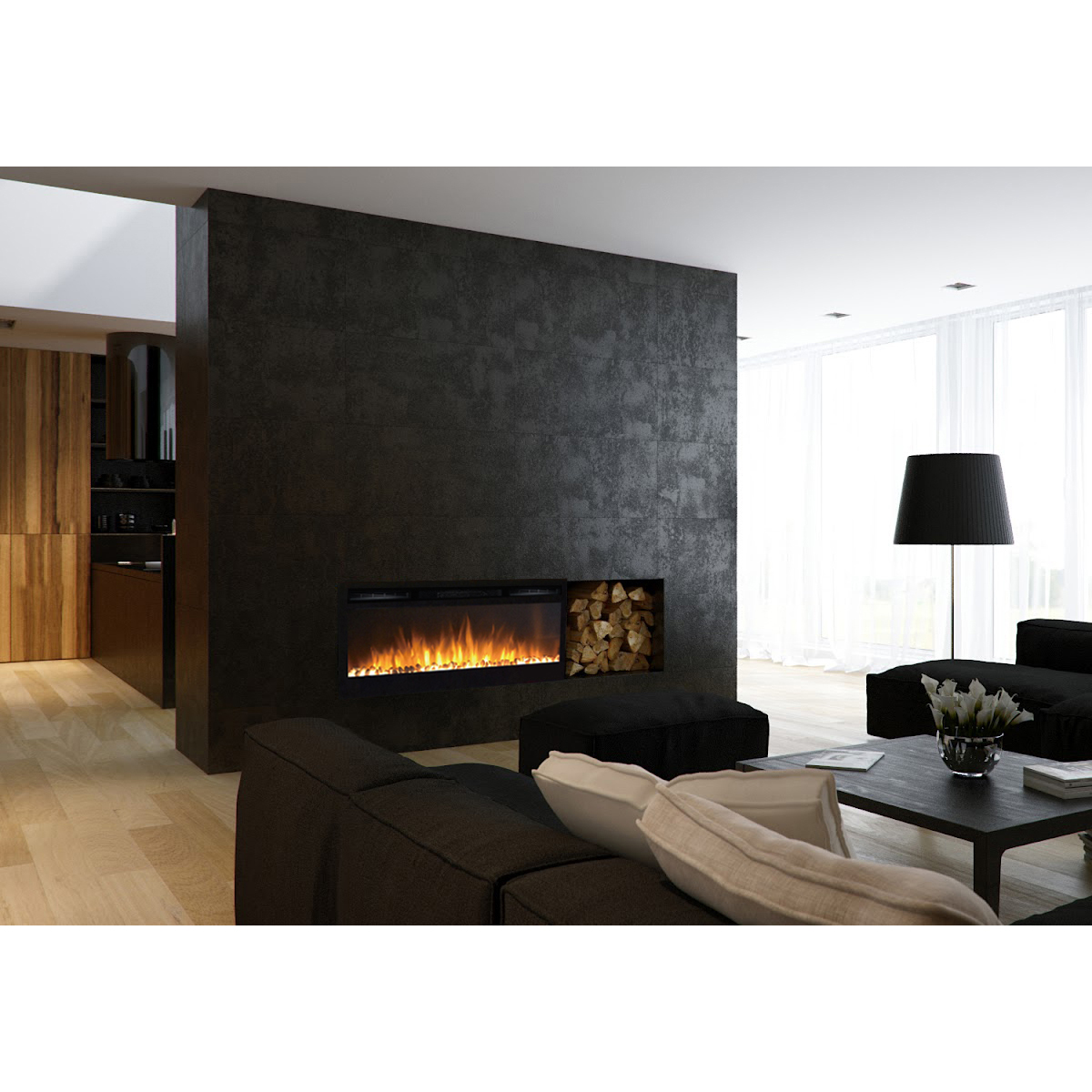 Moda Flame 36 Inch Cynergy Pebble Built In Recessed Wall Mounted Electric Fireplace