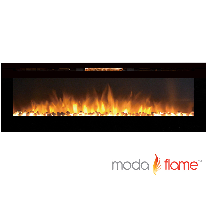 Moda Flame 72 Inch Recessed Cynergy XXL Pebble Built In