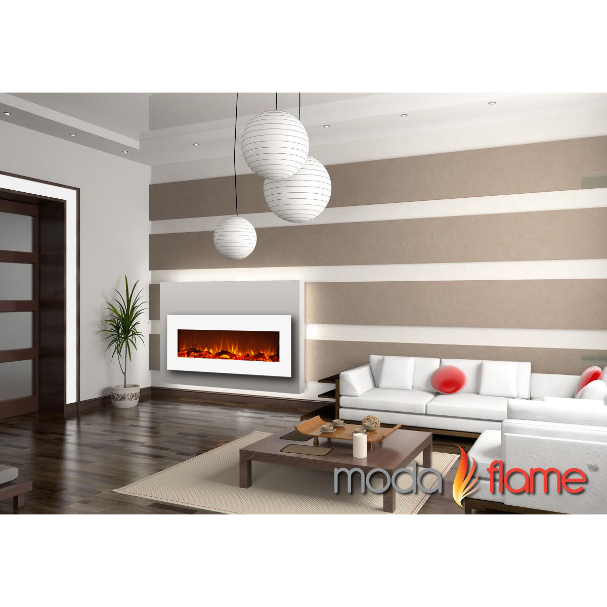 Moda Flame Houston 50 Inch Electric Wall Mounted Fireplace White