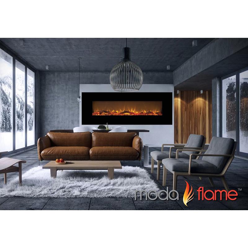 Moda Flame 72 Inch Skyline Log Linear Wall Mounted Electric Fireplace