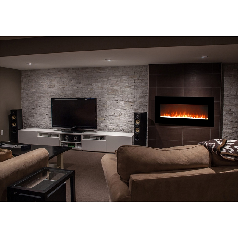 Essex 50 Inch Crystal Electric Wall Mounted Fireplace Black