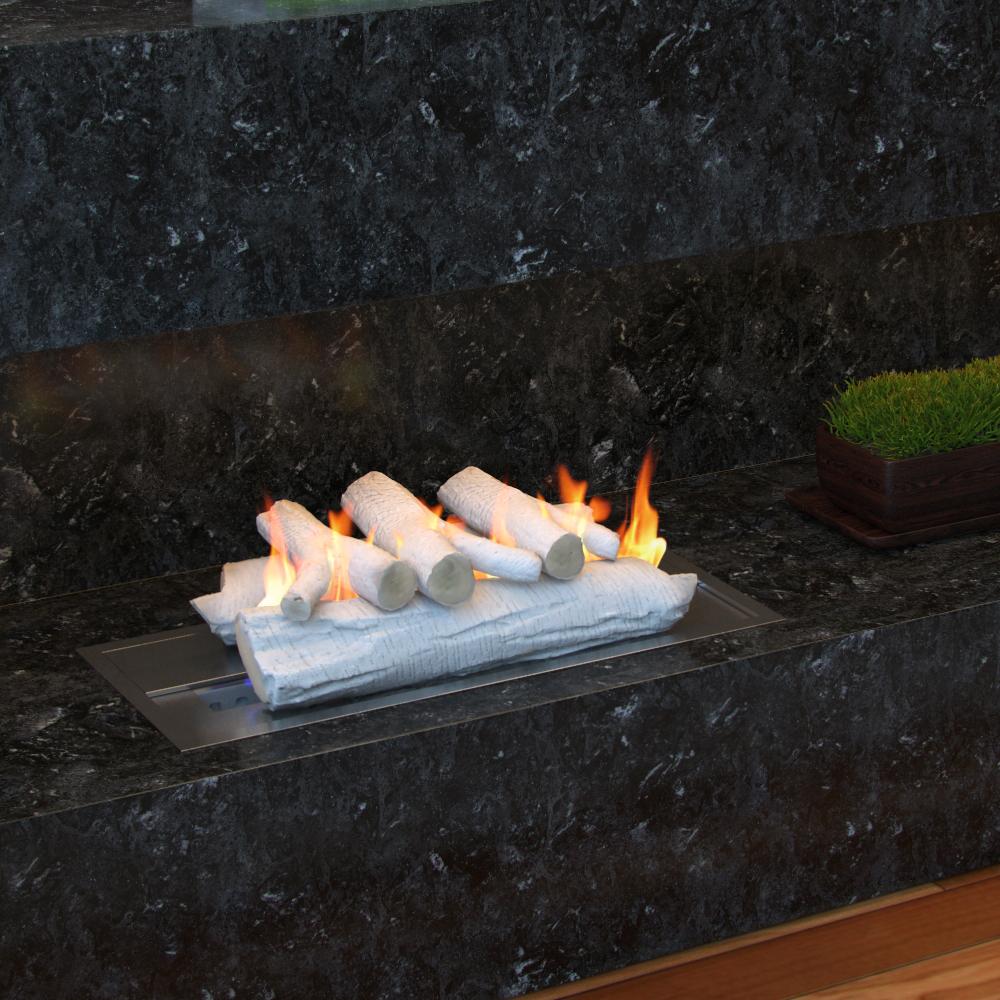 16 Inch Birch Ceramic Fireplace Gas Logs 5 Piece Set