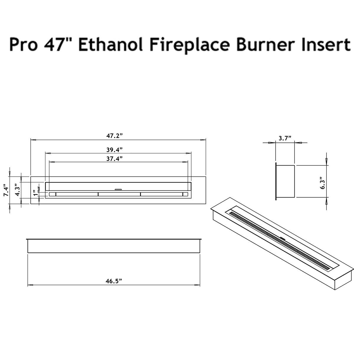 moda flame pro 47 ethanol fireplace burner insert