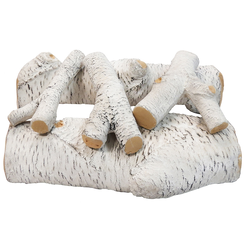 16 Inch Birch Ceramic Fireplace Gas Logs 5 Piece Set