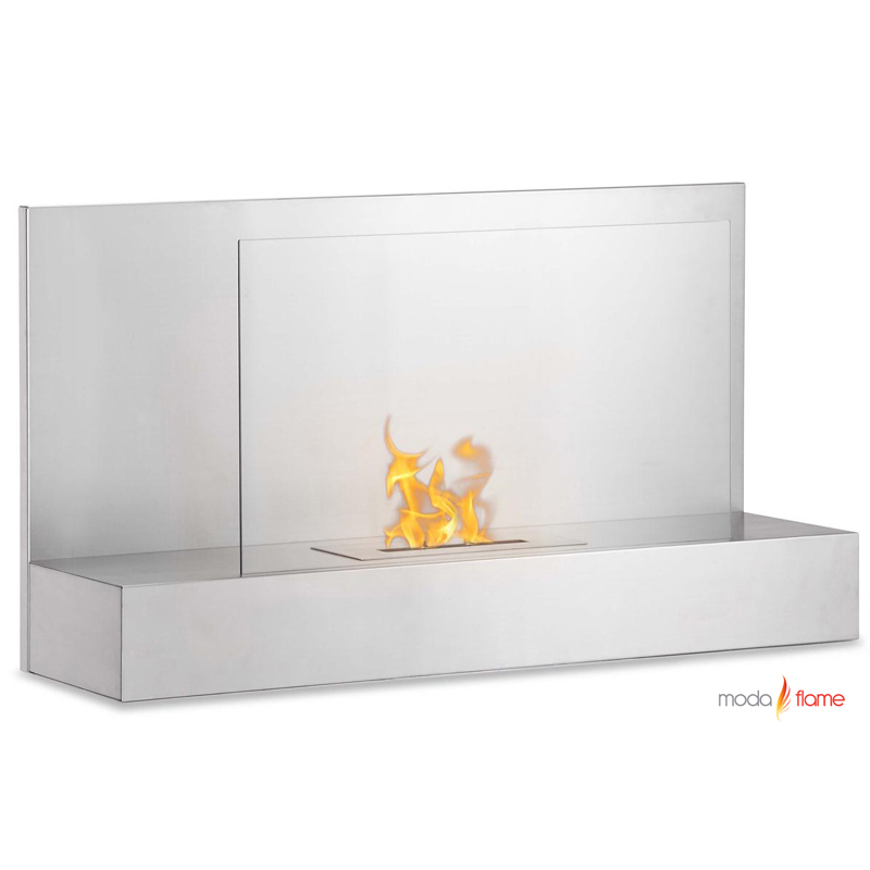moda flame mira wall mounted ethanol fireplace in
