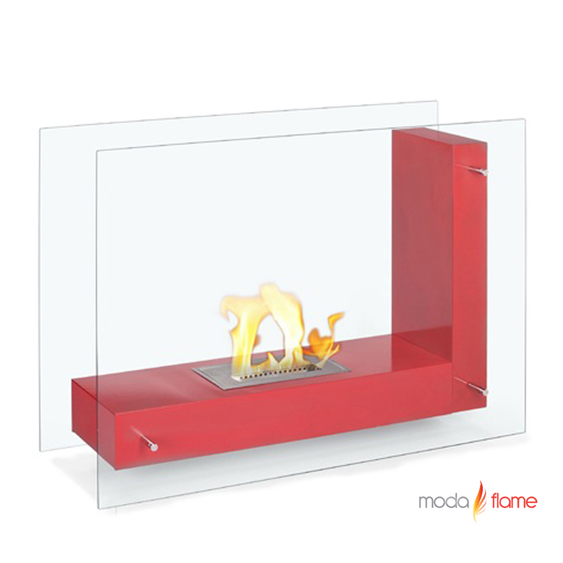 Moda Flame Arta Contemporary Indoor Outdoor L Shaped Ethanol Fireplace In Red