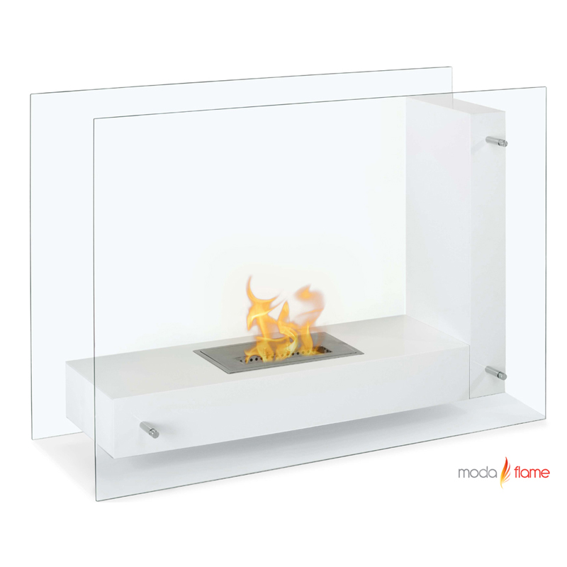 Moda Flame Arta Contemporary Indoor Outdoor L Shaped Ethanol Fireplace In White