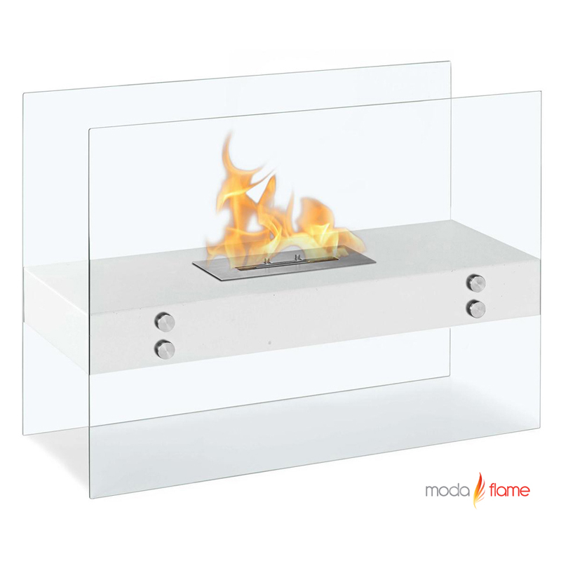 Moda Flame Avila Contemporary Indoor Outdoor Ethanol Fireplace In Stainless Steel
