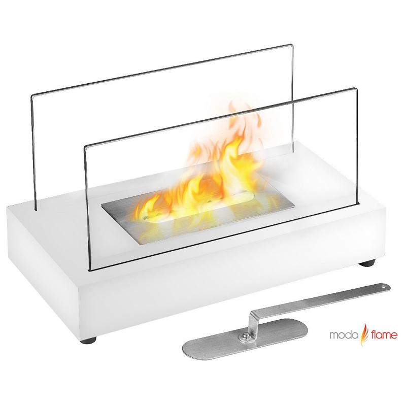 Moda Flame Vigo Table Top Indoor Outdoor Ethanol Fireplace White