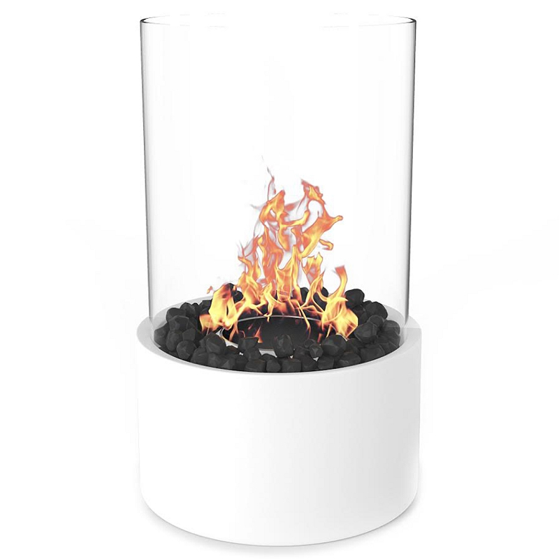 moda flame ghost tabletop firepit ethanol fireplace white