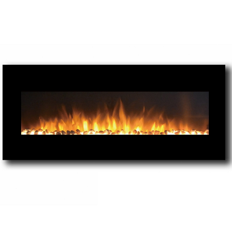 Oxford 50 Inch Pebble Electric Wall Mounted Fireplace Black