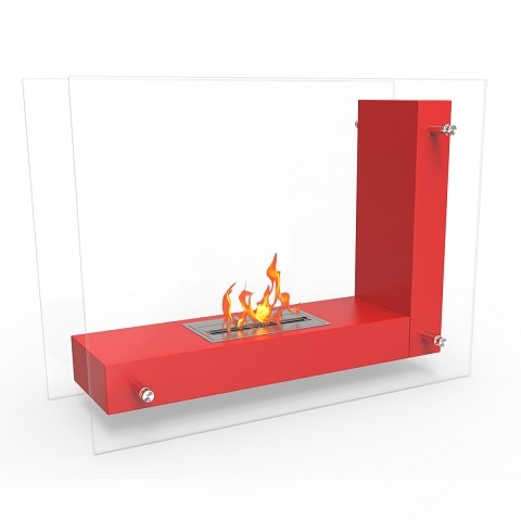 Regal Flame Avec Ventless Free Standing Ethanol Fireplace in Red