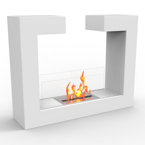 Regal Flame Vinci Ventless Free Standing Ethanol Fireplace in White