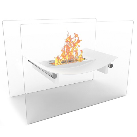Regal Flame Bow Ventless Free Standing Ethanol Fireplace in White