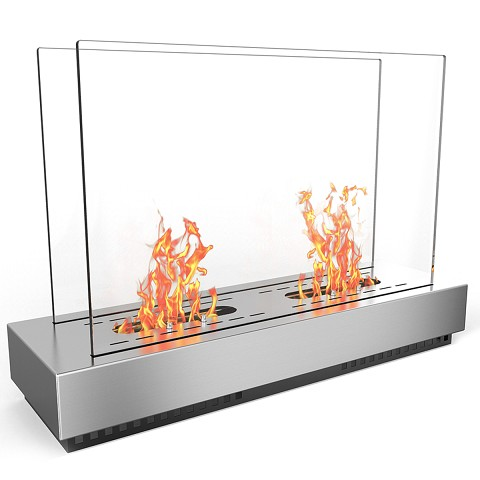 Regal Flame Phoenix Ventless Free Standing Ethanol Fireplace in Stainless Steel