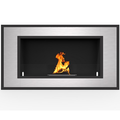 Cynergy 36 Inch Ventless Built In Recessed Bio Ethanol Wall Mounted Fireplace