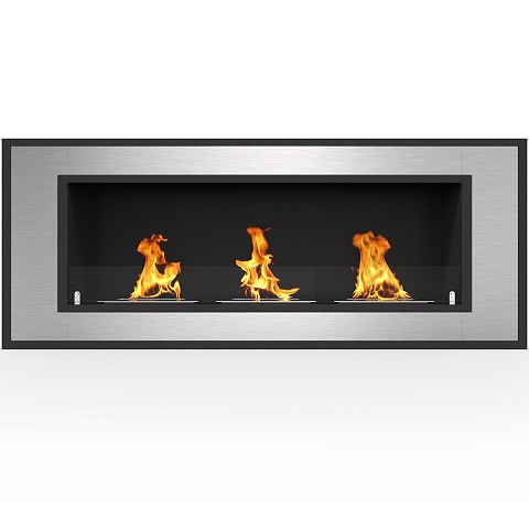 Cynergy 50 Inch Ventless Built In Recessed Bio Ethanol Wall Mounted Fireplace