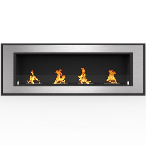 Cynergy 60 Inch Ventless Built In Recessed Bio Ethanol Wall Mounted Fireplace