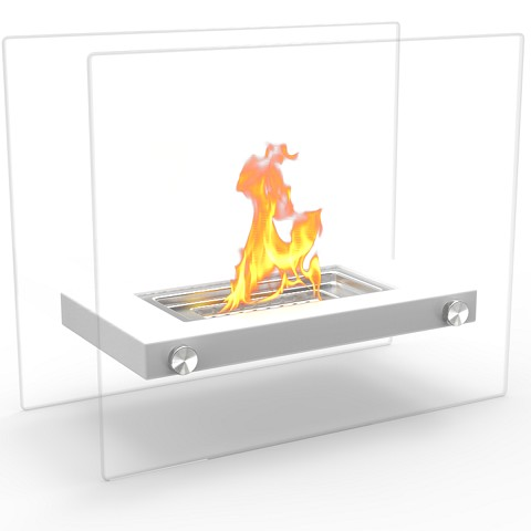 Monrow Ventless Tabletop Portable Bio Ethanol Fireplace in White