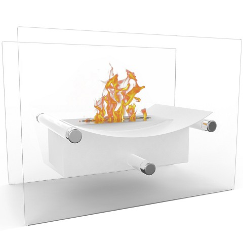 Regal Flame Arkon Tabletop Portable Bio Ethanol Fireplace in White