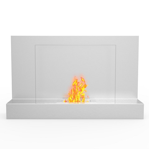 Tucson 35 Inch Ventless Wall Mounted Bio Ethanol Fireplace in Stainless Steel
