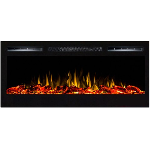 Regal Flame Lexington 35 Inch Built-in Ventless Heater Recessed Wall Mounted Electric Fireplace - Log