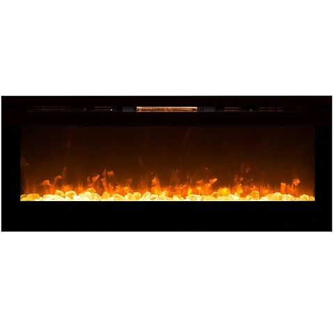 Regal Flame Astoria 60 Inch Built-in Ventless Heater Recessed Wall Mounted Electric Fireplace - Crystal