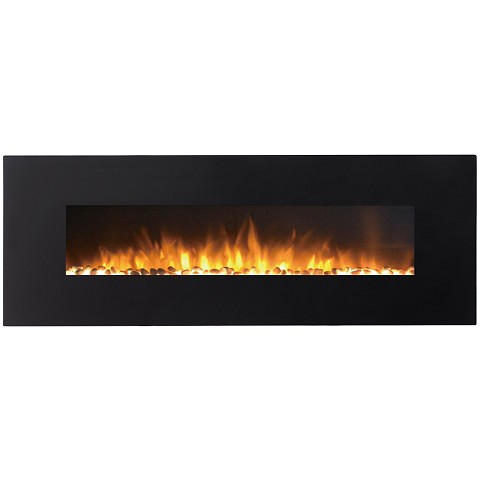 Regal Flame Erie 72 Inch Black Ventless Heater Electric Wall Mounted Fireplace - Pebble