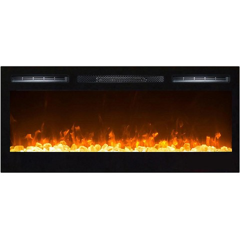 Moda Flame 36 Inch Cynergy Crystal Built-In Recessed Wall Mounted Electric Fireplace