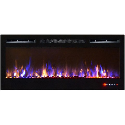 Moda Flame 36 Inch Bliss Crystal Recessed Touch Screen Multi-Color Wall Mounted Electric Fireplace