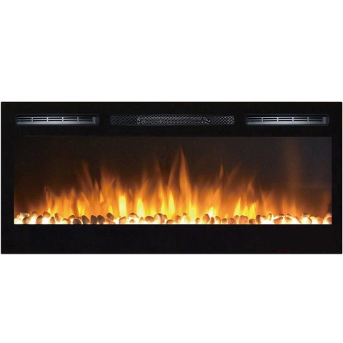 Moda Flame 36 Inch Cynergy Pebble Built-In Recessed Wall Mounted Electric Fireplace