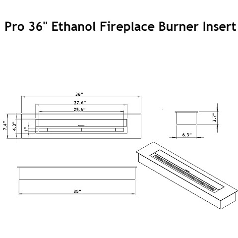 moda flame pro 36 ethanol fireplace burner insert