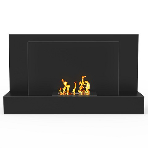Tucson 35 Inch Ventless Wall Mounted Bio Ethanol Fireplace in Black