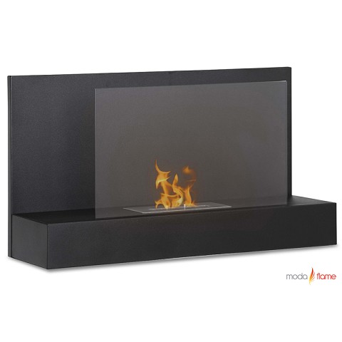 Moda Flame Mira Wall Mounted Ethanol Fireplace in Black