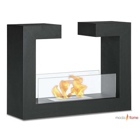 Moda Flame Beja Free Standing Floor Indoor Outdoor Ethanol Fireplace In Black