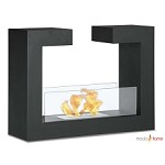 Moda Flame Beja Free Standing Floor Indoor Outdoor Ethanol Fireplace in Black