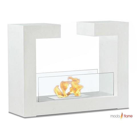 Moda Flame Beja Free Standing Floor Indoor Outdoor Ethanol Fireplace In White