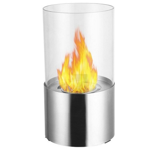 Moda Flame Lit Table Top Bio-Ethanol Fireplace in Stainless Steel
